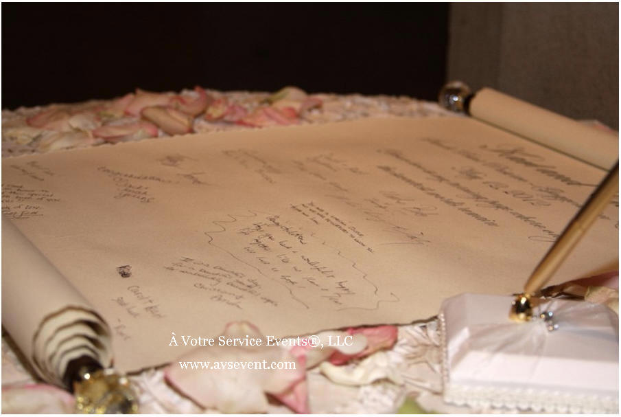 wedding scroll as guest signing