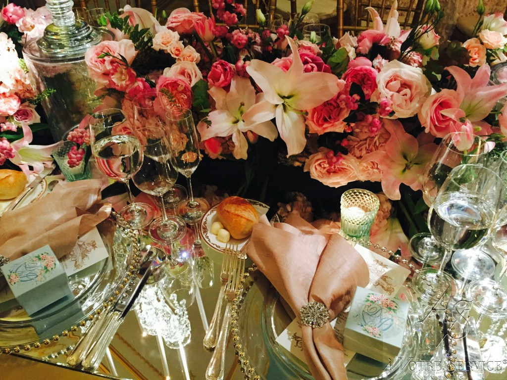 pink wedding floral arrangement
