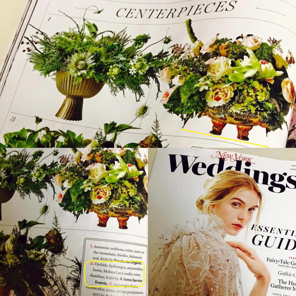 A Votre Service Events featured in New York Weddings Magazine Winter 2016 Issue
